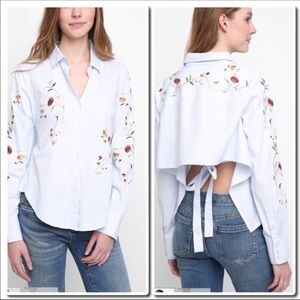 Tops - Embroidered Tie Back Shirt in Light Blue